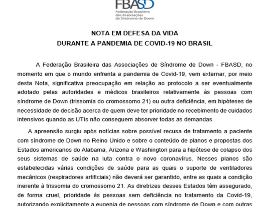 Nota da Federação Brasileira das Associações de Síndrome de Down em defesa da vida durante a pandemia de COVID-19